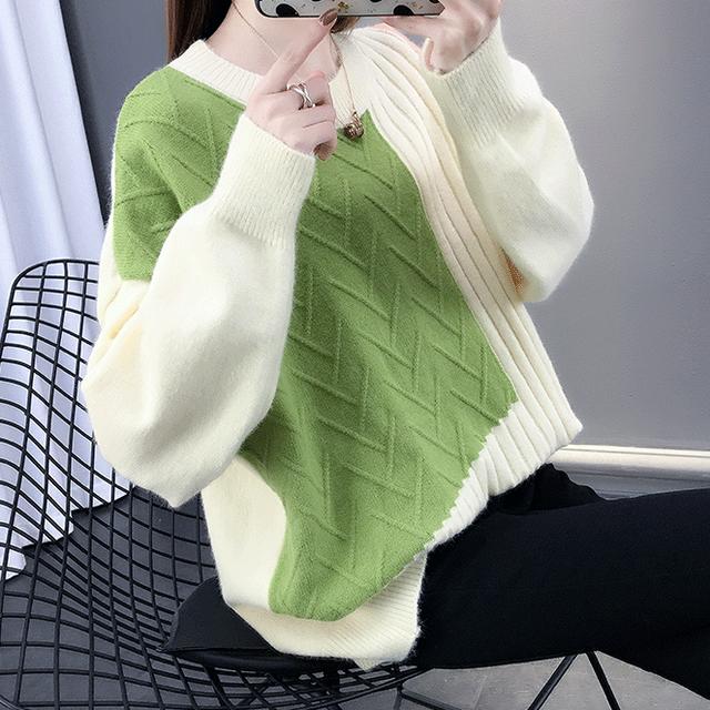 【トップス】配色カジュアル切り替え長袖セーター24375666