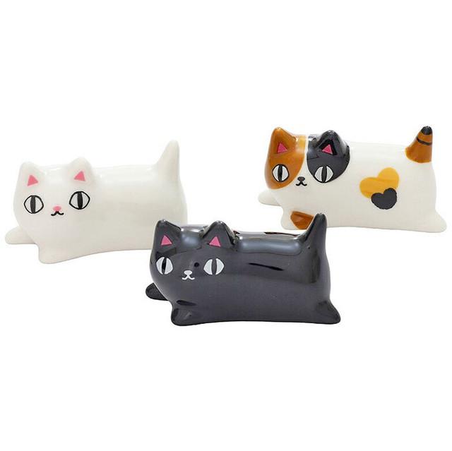 【猫3兄弟】寝そべり箸置3個セット【猫柄 23119】