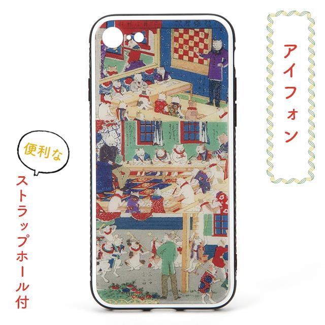 和柄レトロiPhoneケース/ドット絵「ねこ」ポップな浮世絵