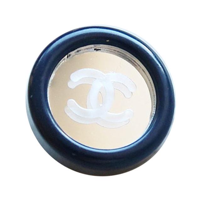 【VINTAGE CHANEL BUTTON】ミラー ネイビーフレーム ココマークボタン2.0cm