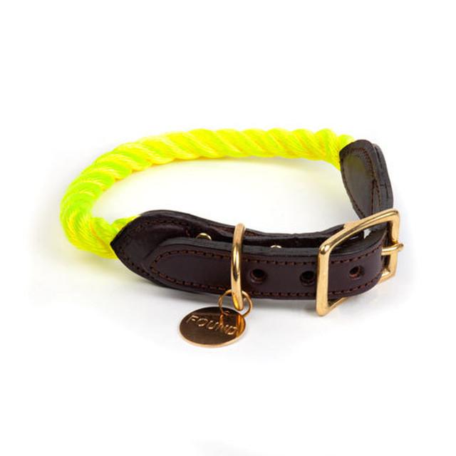 FOUND MY ANIMAL-DARK TAN ROPE & LEATHER CAT & DOG COLLAR(ファウンドマイアニマル・ダークタン・ロープ&レザー・キャット&ドッグ・カラー)