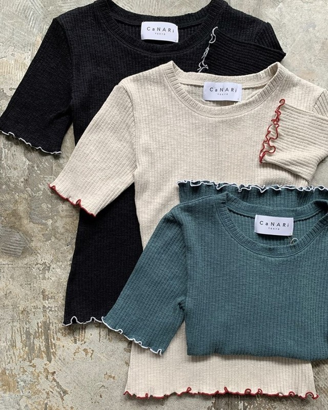 CaNARi Cotton Rib Crew / made in Japan