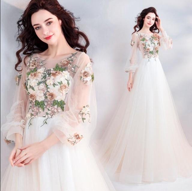 シースルー豪華刺繍ロングドレス