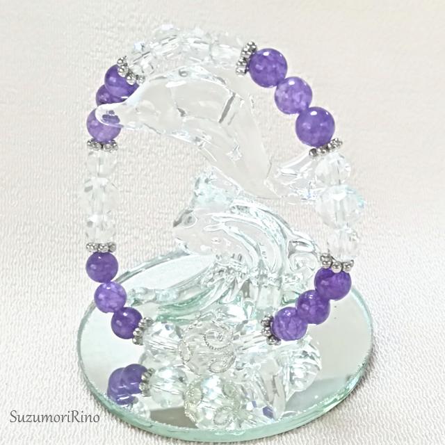 【ブレスレット】天然石デザインブレスレット-クラック水晶・ピンクジェイド-(bracelet-016)