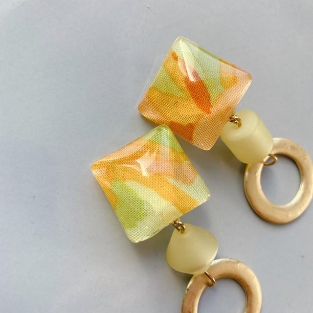 """"""" Earrings NO.danoan-123″ イエロー&ゴールドパーツ"""