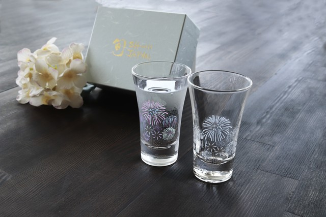 【ch-03s】『冷感花火』『天開グラス ペアセット』 *父の日 冷感 花火 天開 ペアセット 贈り物 温度で 変化 日本酒 乾杯 ギフト プレゼント お祝い 夏