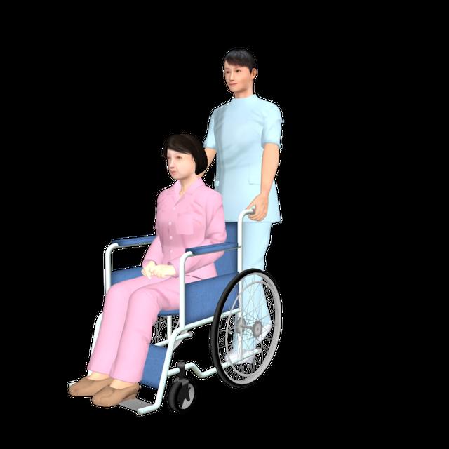 看護師05(男性+中年女性患者(車椅子))
