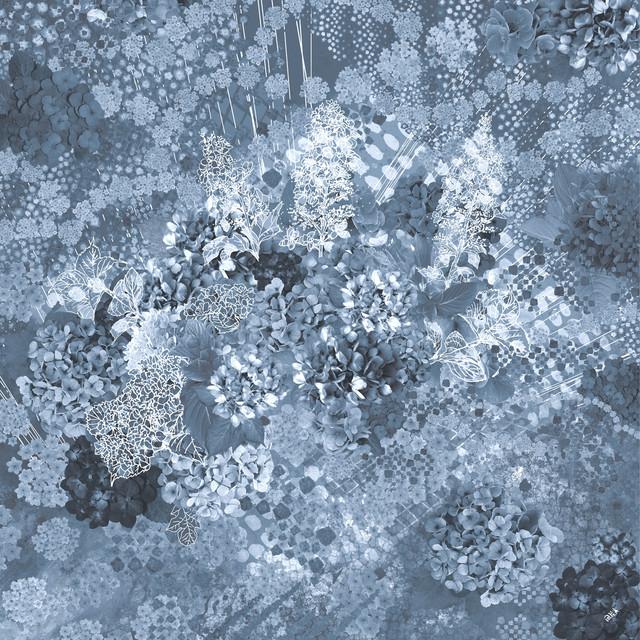 シルクジョゼットスカーフ[水の器 紫陽花浮かべて]ダークブルー