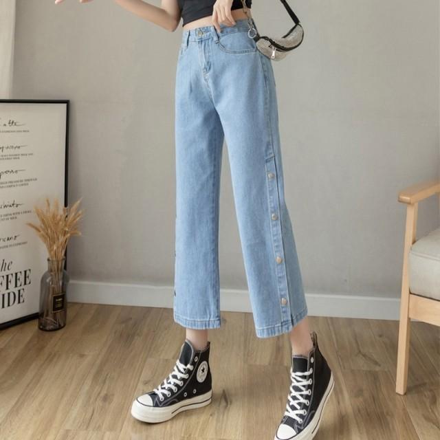 【ボトムス】韓国系ファッション無地スリットアンクル丈デニムパンツ42930122