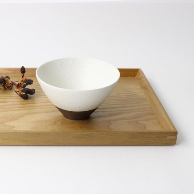 【SL-0025】磁器 12cm ご飯茶碗 白×こげ茶