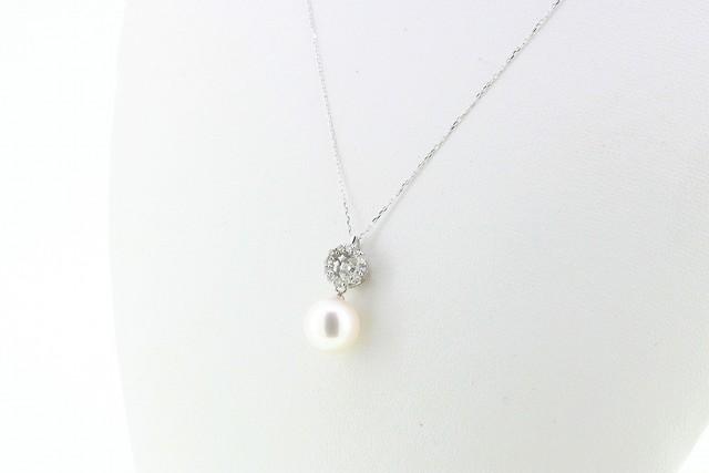 K18WG アコヤ真珠ペンダント〈スウィングダイヤ〉
