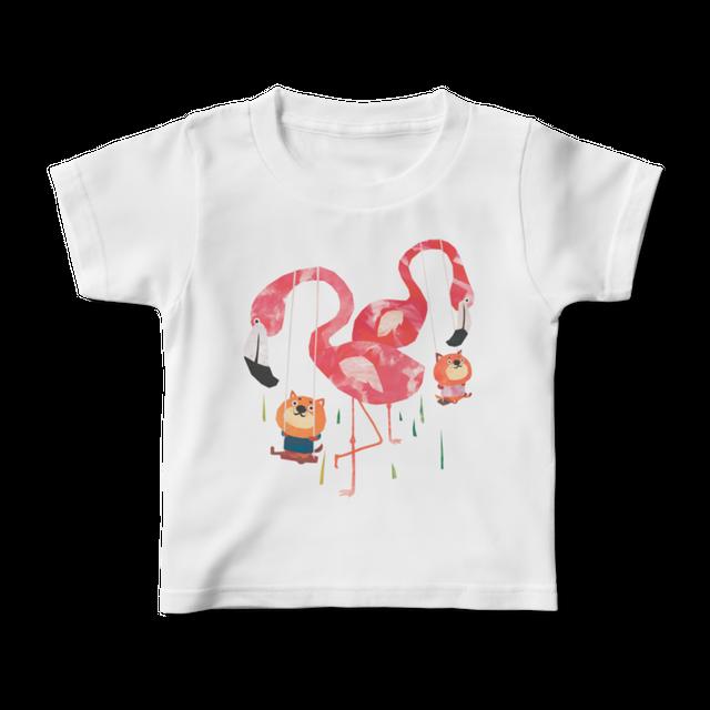 前面プリントイラストキッズTシャツ 『フラミンゴブランコ』