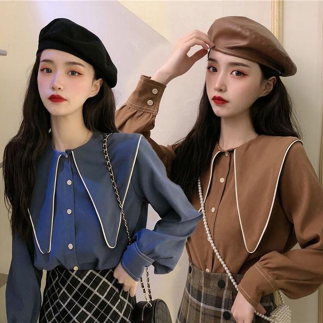 ブラウス シャツ 大きい襟 長袖 韓国ファッション レディース トップス ゆったり レトロ 大人可愛い ガーリー / Loose wild doll collar shirt women (DTC-625130861610)