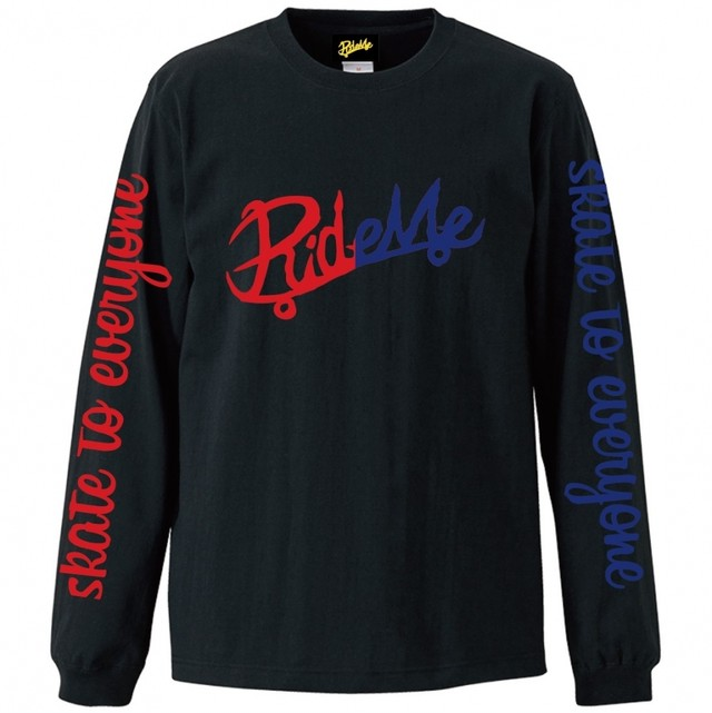 【RideMe| ライドミー】LOGO L/S Tee(RED/BLUE)BLACK