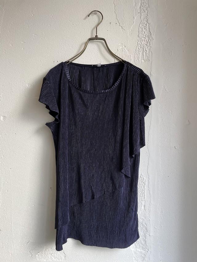 vintage pleats tops -navy-