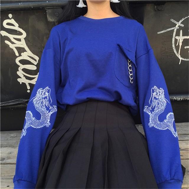 チャイナ風トップス Tシャツ 龍 中華服 龍紋 フリーサイズ ブルー ブラック ゆったり 可愛い