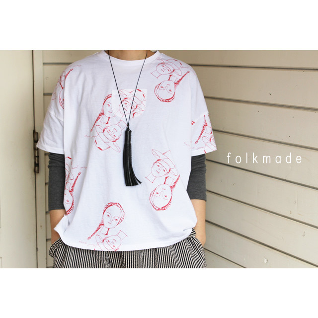 【folk made】F21SS-017 face print T-shirts Free