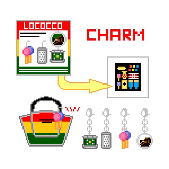 チャーム4点セット LOCOCCO  打楽器&ロコちゃん柄