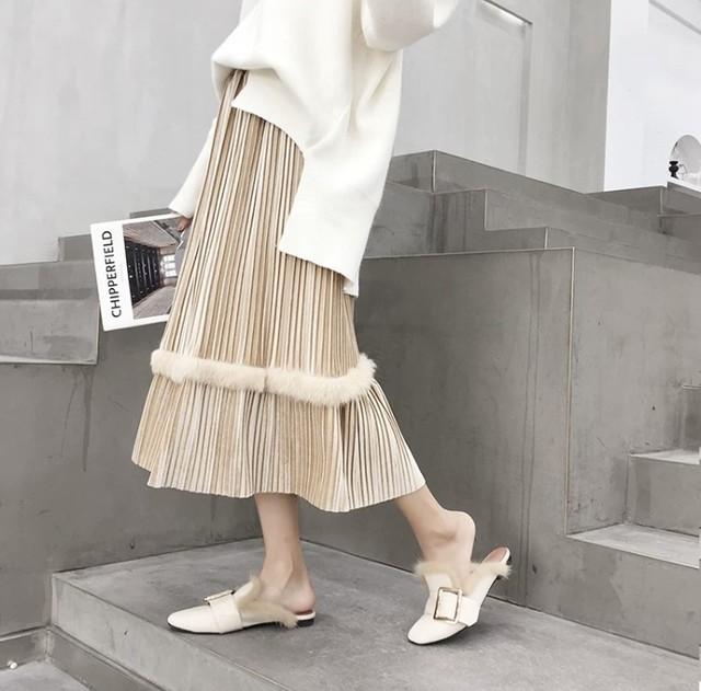 【残りわずか!】即日発送 ベルベット フレアスカート ふわふわ デザイン ベージュ C0102