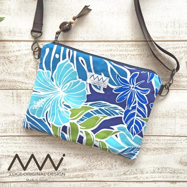ハワイアン ✿帆布とハワイアンファブリックの口折れショルダーバッグ