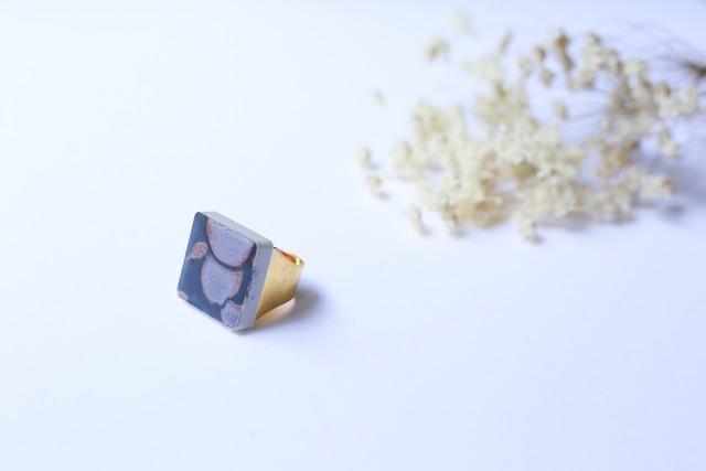 127伝統文化品美濃焼多治見四角タイル指輪・リング(フリーサイズ) 錆鉄御納戸(さびてつおなんど)※証明書付