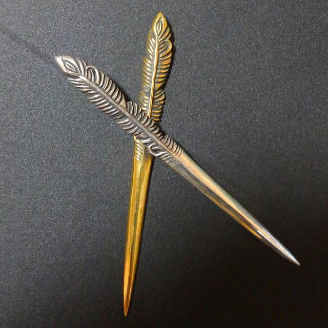フェザーカクテルピン(真鍮製)5本セット