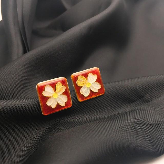 カフス 純銀銀彩 幸せの四葉クローバーカフス/ Red