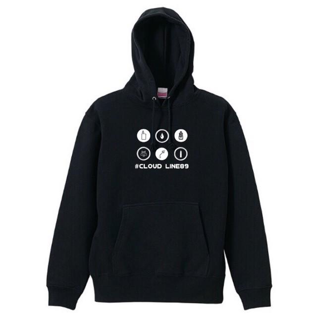 クラウドライン89【プルオーバーパーカー】ブラック(P-0201)