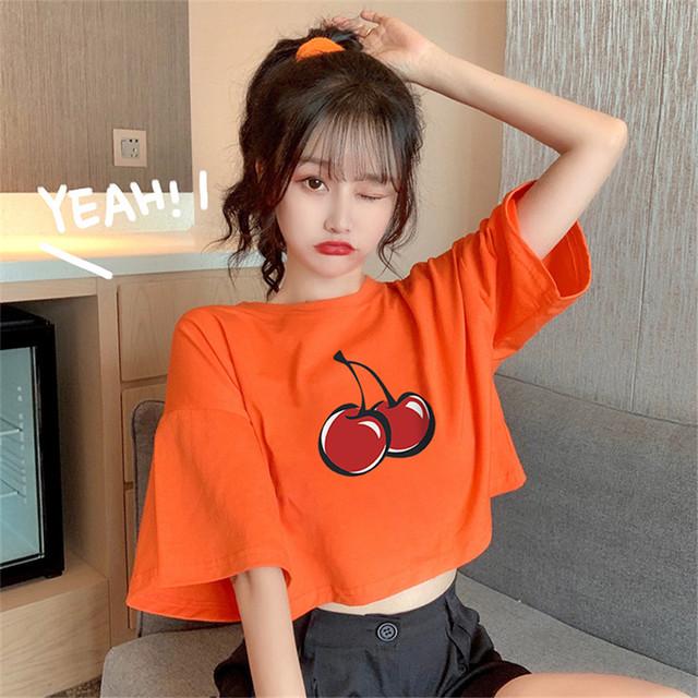【トップス】韓国系半袖ラウンドネックプルオーバーショート丈Tシャツ47001184