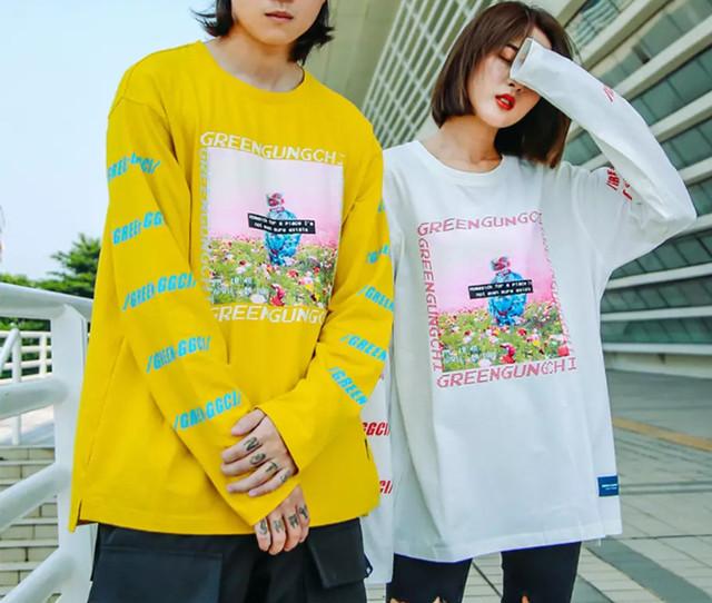 【GOOD】GREENデザインロングTシャツ 3カラー