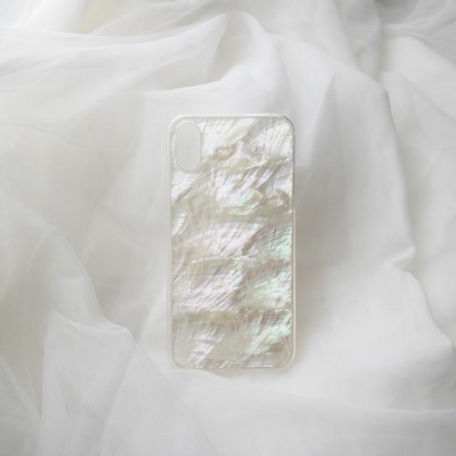 【iPhone12シリーズ/SE2対応】本物の自然シェル素材<ホワイト>カラーデザイン(SPCa0078WT)◆スマホケース/iPhoneケース