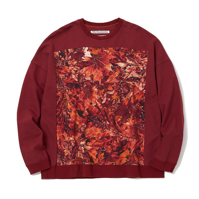 FALLEN LEAVES PRINTED SWEATSHIRT - BURGUNDY