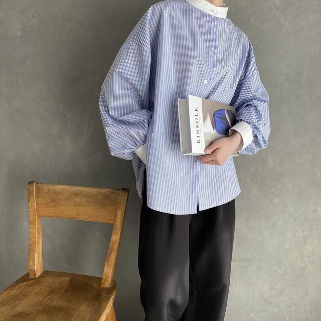 volume sleeve stripe shirt