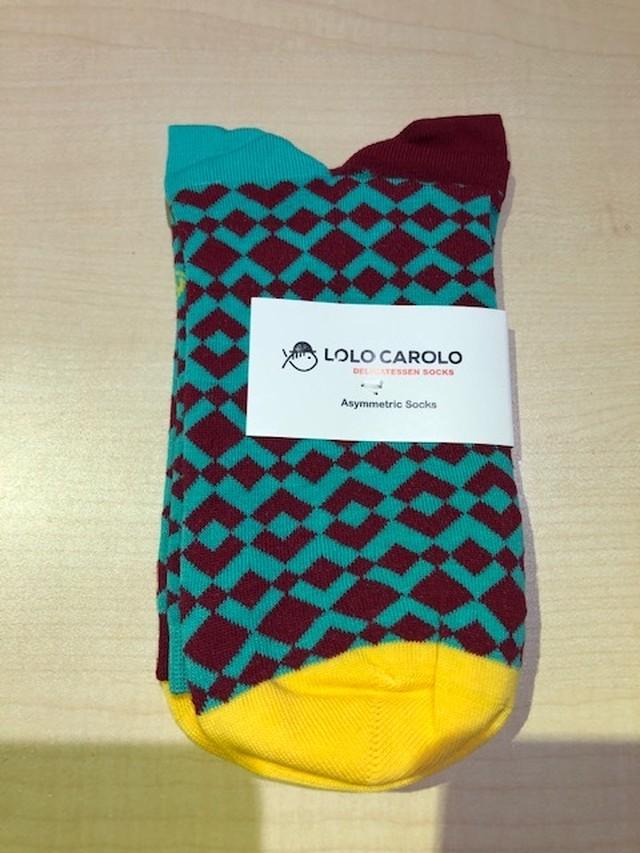 LoloCarolo(ロロカロロ)Spain 43011/44162 Col.L.Green/Brown/yellow デザインソックス ポルトガル製