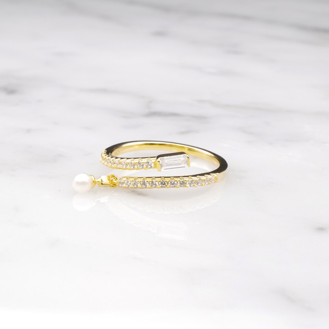 S925 LOW ZIRCONIA PERAL RING GOLD