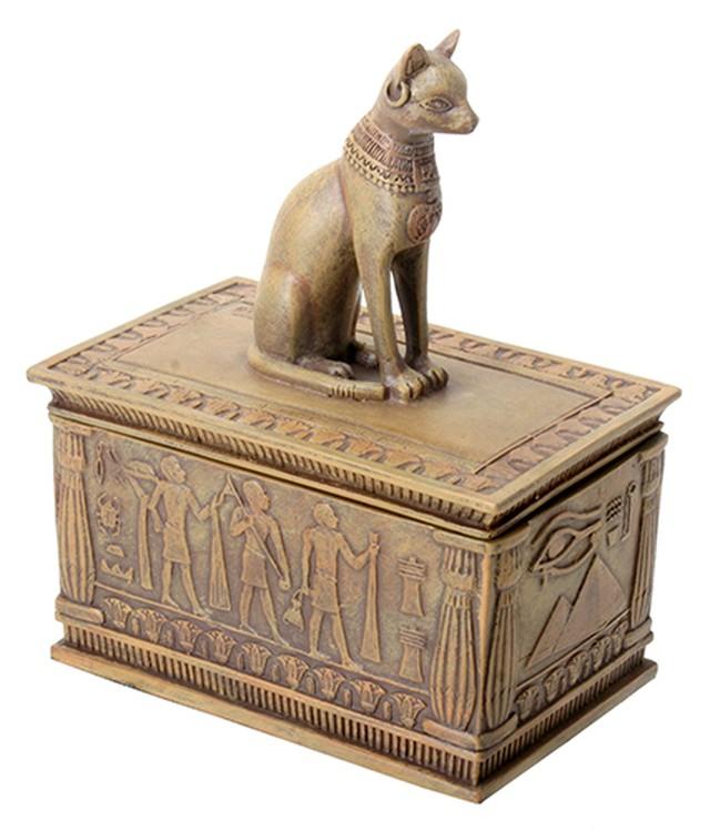 YTC8446 エジプシャンエジプト バステト神 砂岩風 小箱 Egyptian Anubis jewelry box 置物・小箱・古代エジプト