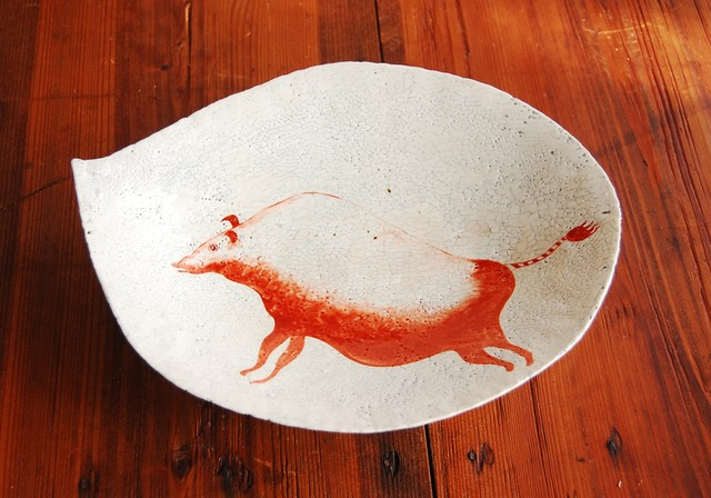 亥・赤絵粉引貫入皿 Iron Red Overglazed Slip Plate