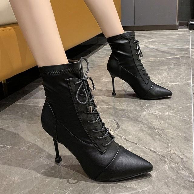 【シューズ】ファッションピンヒール切り替え抗菌防臭ポインテッドトゥショート丈ブーツ35465297