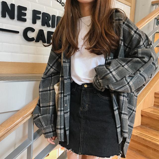 チェックシャツ レディース 長袖シャツ チェック柄シャツ チェックシャツ  トップス  グレンチェック レトロ柄 アウター  韓国ファッション オーバーサイズ