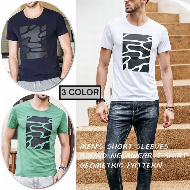 メンズプリント半袖Tシャツ / MEN'S SHORT SLEEVES ROUND NECKWEAR T-SHIRT GEOMETRIC PATTERN ROUTINE (WCN-1529766234)