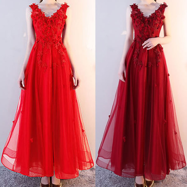 【2色】フラワー モチーフ Vネック ノースリーブ ロング ドレス お呼ばれコーデ ワンピースパーティー パーティードレス 大人女子 結婚式アイテム