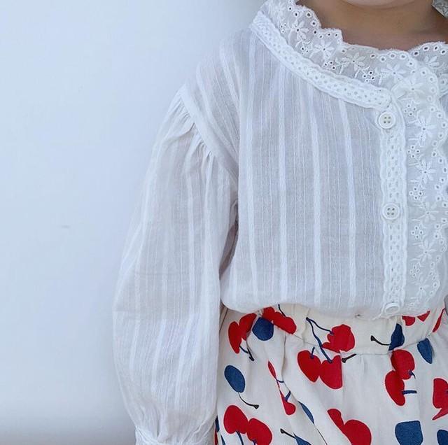 【可愛い韓国子供服】 6050 シンプル レース シャツ ブラウス おしゃれ 女の子 送料無料