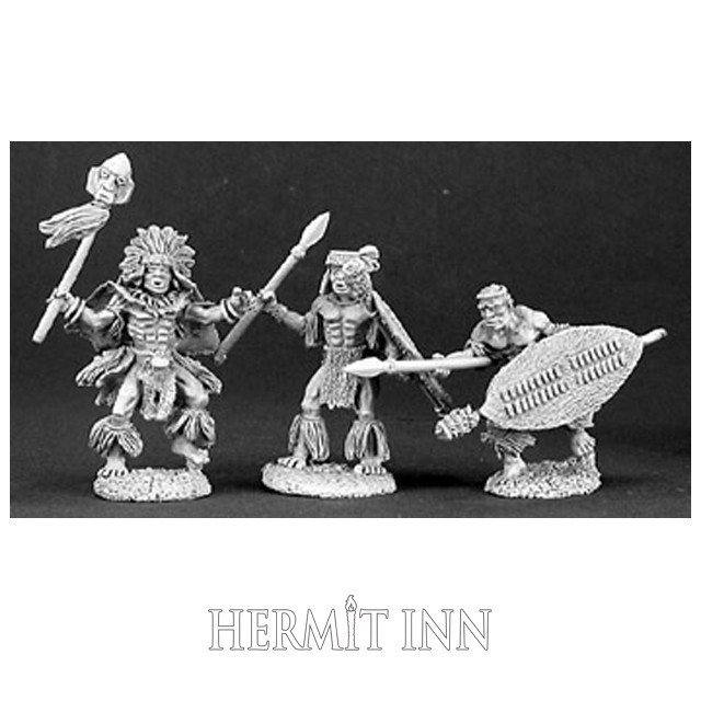 人食い部族の祈祷師と衛兵たち(3体) - メイン画像