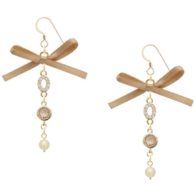 Ribbon rhinestone pearl earing -brown- (ピアス)