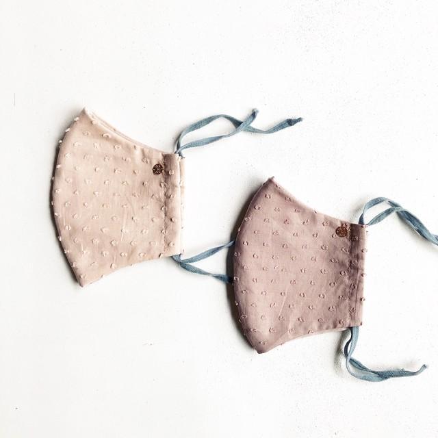 春夏用⭐︎マスク2枚セット:dot mask グレイッシュピンク&ほんのりピンク *大人サイズ