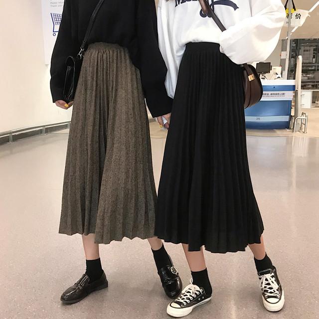 【ボトムス】カジュアル無地ハイウエストスカート25970413