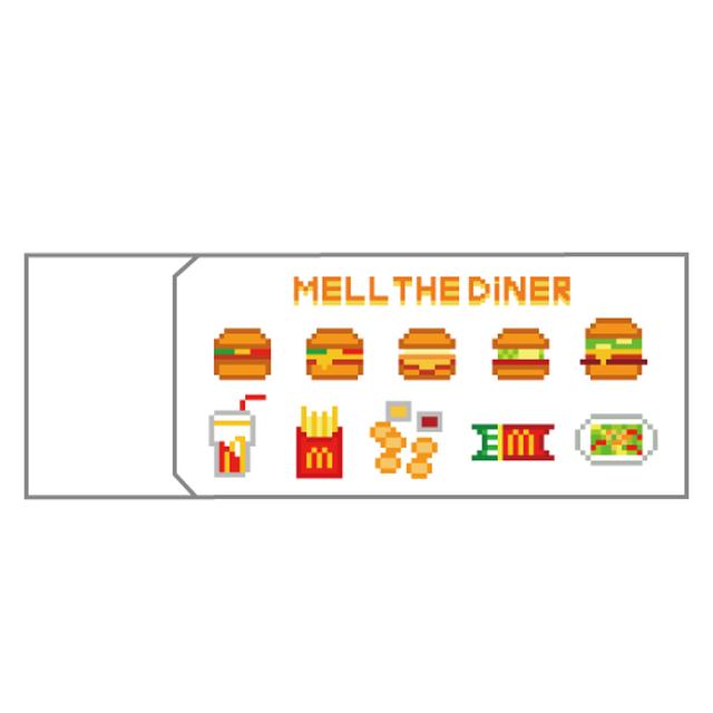 消しゴム MELL THE DINER ハンバーガーメニュー&メル柄