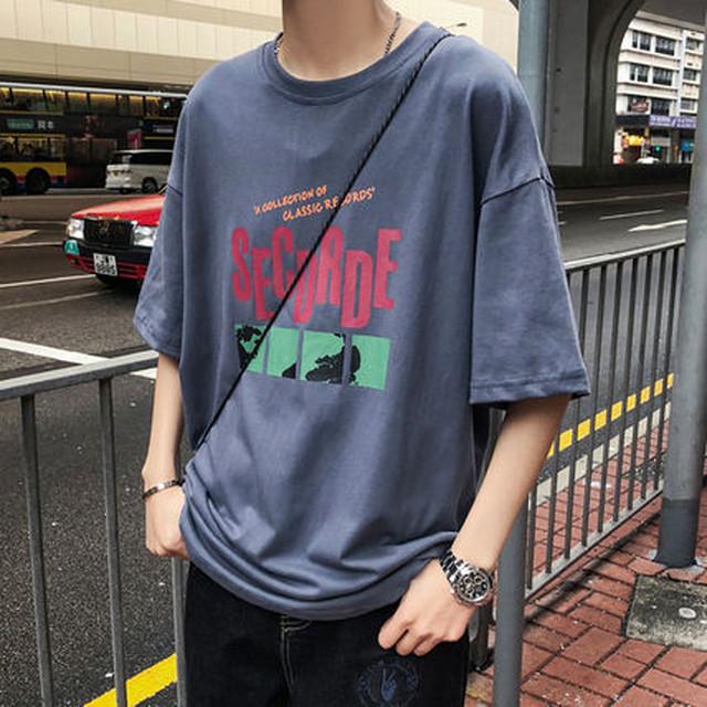 メンズ Tシャツ 半袖 ロゴ レター プリント オーバーサイズ BF