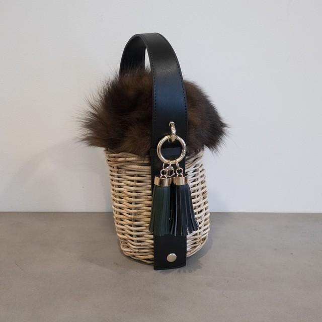 【Fur-Pillar-Small 】 Black
