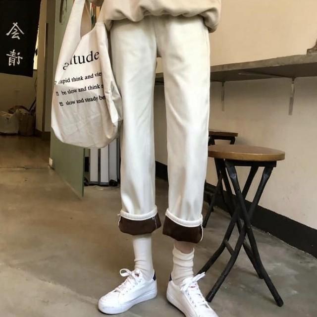 裏起毛 ゆったり ストレート パンツ ワンカラー B2396【1/24まで10%OFF!!】